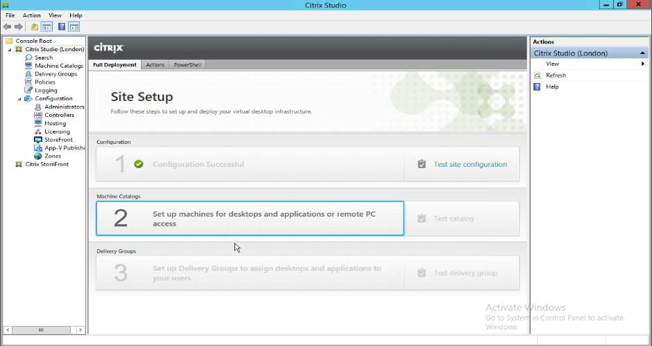 Shows Citrix Studio launched for the second time