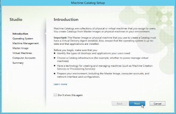 Citrix Studio create machine catalog introduction