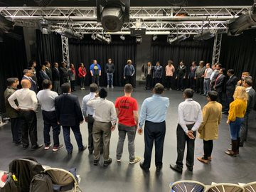 Police Officers taking part in activities that explore themes of identity building, anti-discrimination and pro-diversity at a YTT Learning Approach training program.
