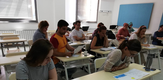 Students are taking part in activities that explore themes of idenity building, anti-discrimination and pro-diversity practice at the International University of Sarajevo/Balkan Studies Centre.