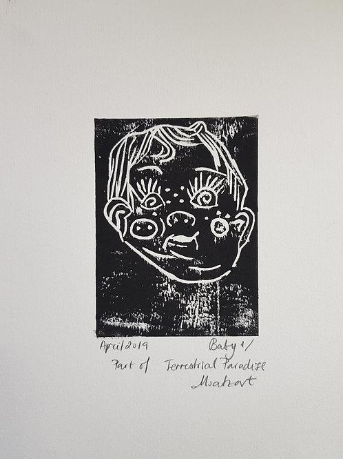 Baby I Original Linocut Print from Participatory work