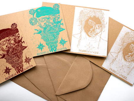 Handmade and handprinted Christmas Cards designed by Moatzart