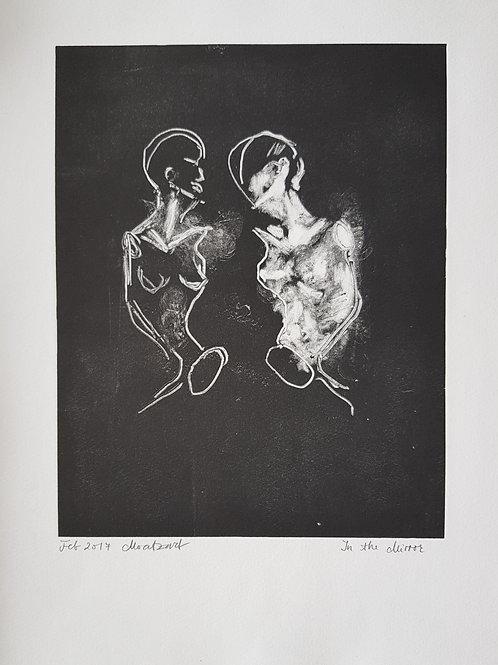 In the Mirror I Original Monoprint - Monotype