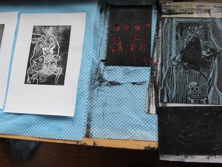 Linocut Printmaking Day #3, more about how I make my original linocut prints - Moatzart