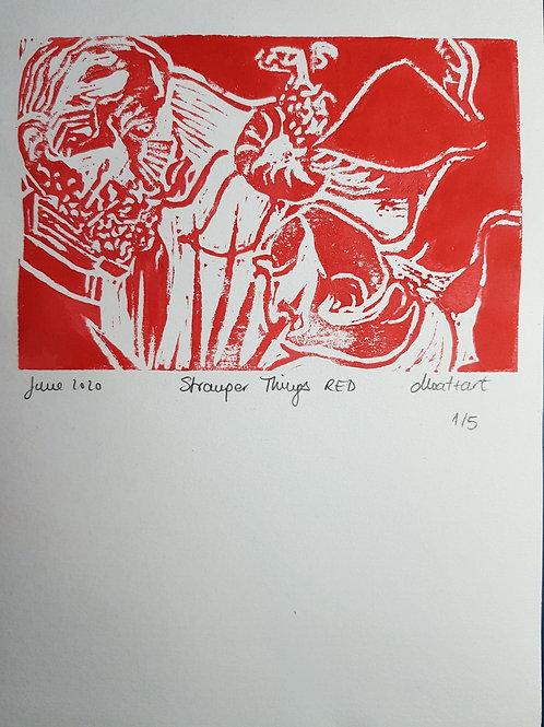 Stranger Things RED Original Linocut Print