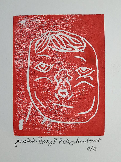 Baby II RED Original Linocut Print