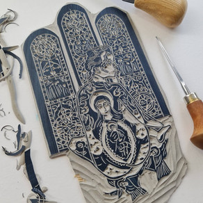 Linocut Printmaking - Commission for Fabrica Art Gallery by Moatzart