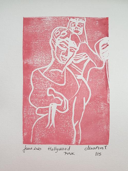 Hollywood PINK Original Linocut Print