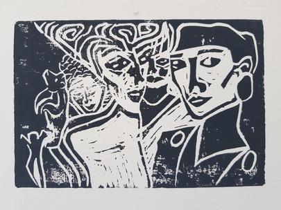 Moatzart Original Linocut Print from a Terrestrial Paradise
