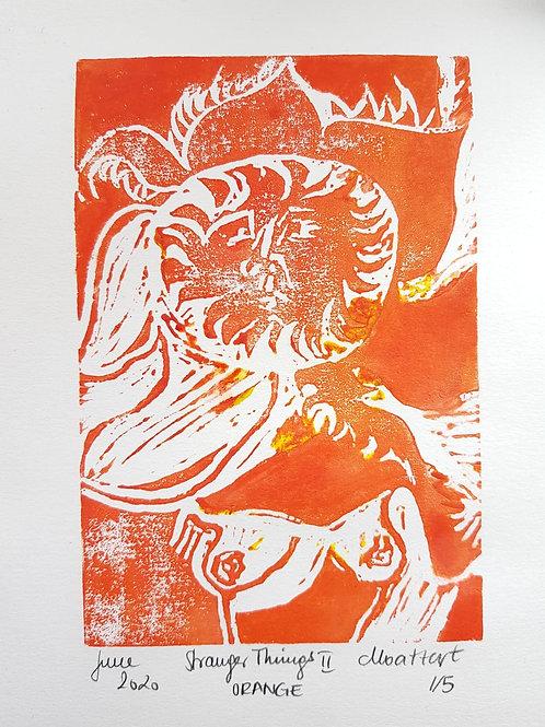 Stranger Things II ORANGE Original Linocut Print