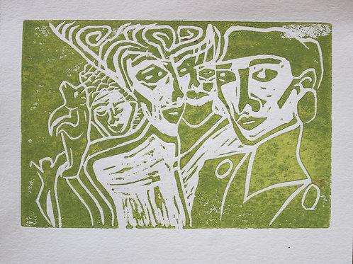 Terrestrial Paradise GREEN Original Linocut Print