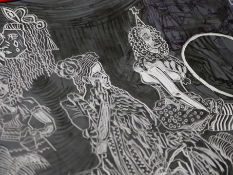 Linocut Printmaking - Away with the Circus Original Linocut Prints series by Moatzart