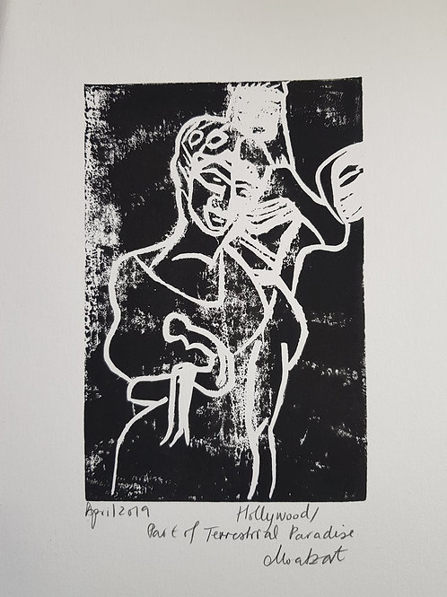 Hollywood Original Linocut Print from Participatory work