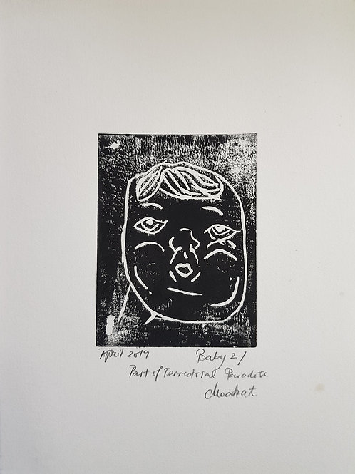 Baby II Original Linocut Print from Participatory work