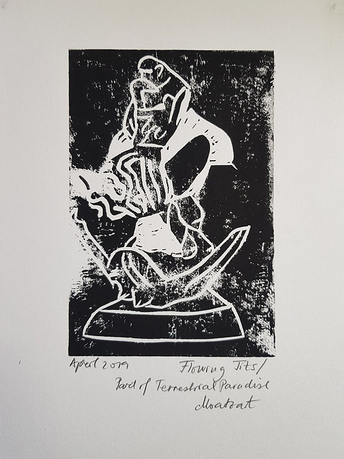 Flowing Tits Original Linocut Print from Participatory work