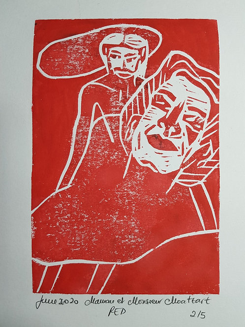 Maman et Monsieur RED Original Linocut Print