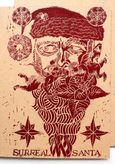 Moatzart Handprinted Linocut Christmas C