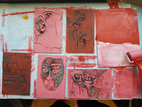 Linocut Printmaking Day - Pink Prints - Moatzart