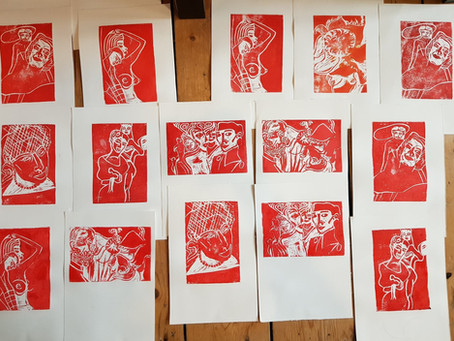 Linocut Printmaking Day - How I do my linocut prints - colourful edition - RED