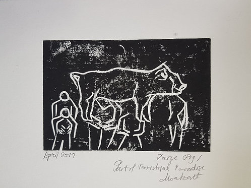 Large Pig Original Linocut Print from Participatory work