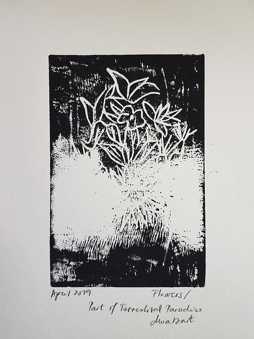Flowers Original Linocut Print from Participatory work