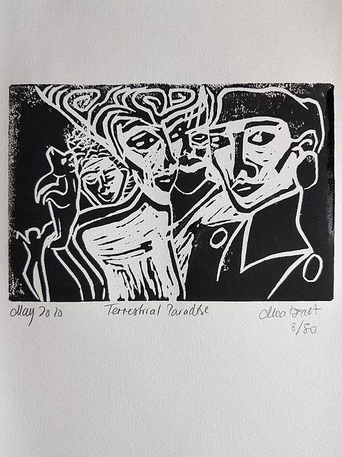 Terrestrial Paradise Original Linocut Print