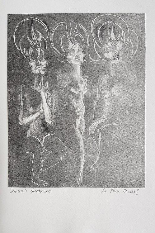 The Three Graces II Original Second Print of Monotype