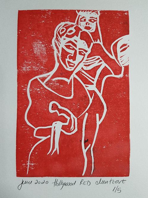 Hollywood RED Original Linocut Print