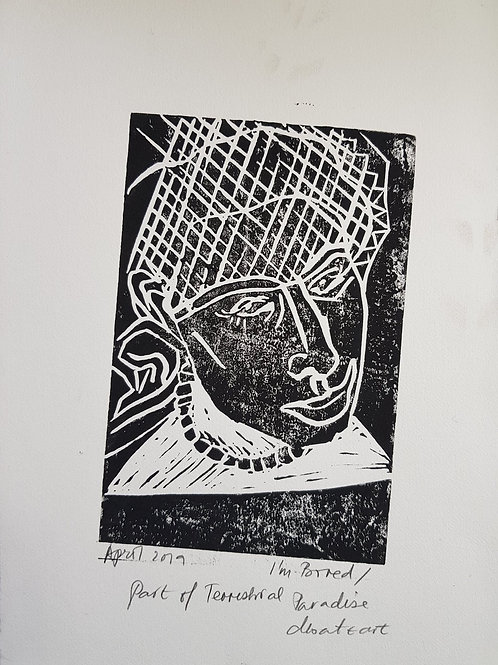 I'm Bored Original Linocut Print from Participatory work