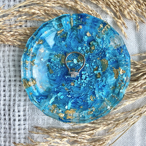 Faceted Jewelry Dish - Blue Alcohol Ink