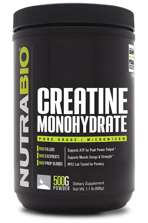 NutraBio Creatine Monohydrate Powder (500 Grams)
