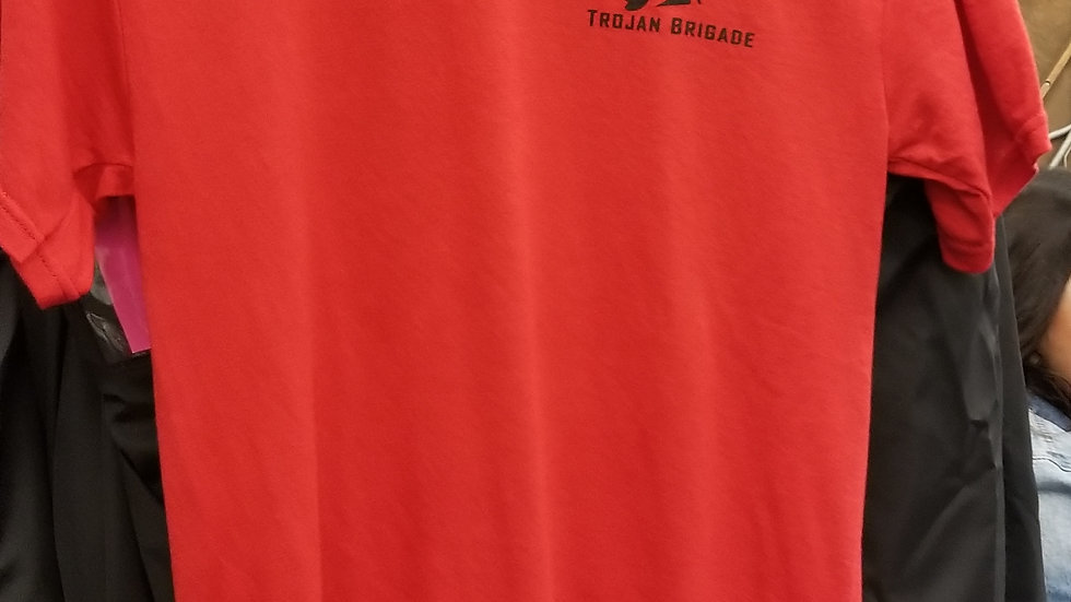 Red Trojan Brigade T-shirt, sizes Small - XLarge