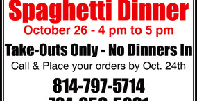 Spaghetti Dinner - St. Petersburg U.M.C. - Take Out Only