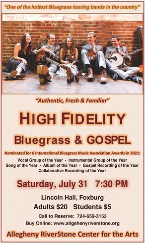ARCA Presents - High Fidelity - Bluegrass and Gospel - Saturday, July 31