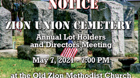 Notice - Zion Union Cemetery Annual Meeting for Lot Holders and Directors