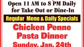 Bob's Place Sunday Special - Jan 24 Chicken Penne - Jan 31 Stuffed Steak Dinner