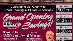 Bear's Mattress 1st - Greenville - Grand Opening - Savings in all Locations