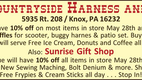 Countryside Harness and Feed  /  Sunrise Gift Shop - 10% off May 28 & 29