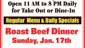 Bob's Place Sunday Special -  Jan 17 Roast Beef Dinner - Jan 24 Chicken Penne