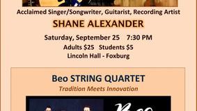 ARCA Presents: Sept. 25th Shane Alexander - Oct. 3rd Beo String Quartet