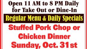 Bob's Place Sunday Specials - Oct. 31 - Stuffed Pork Chop or Chicken Dinner