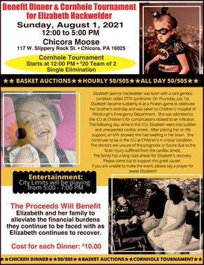 Benefit Dinner & Cornhole Tournament for Elizabeth Hackwwelder - Aug. 1