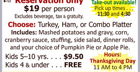 Thanksgiving Dinner at the Allegheny Grille - Take Out Available