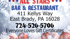 Gift Certificates Make Great Gifts - All Stars - Allegheny Grille - Foxburg Winery - Chicora SubWay