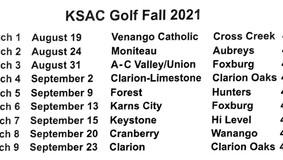Moniteau Boys/Girls Fall Golf Schedule