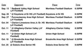 Moniteau H.S. Junior Varsity Football Schedule