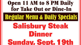 Bob's Place Sunday Specials - Sept. 19 - Salisbury Steak Dinner