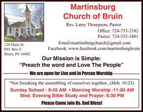Martinsburg Church of Bruin - Open for Worship