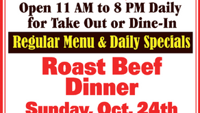 Bob's Place Sunday Specials - Oct. 24th - Roast Beef Dinner