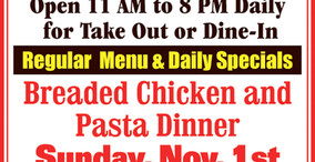 Bob's Place - Sunday Special - Breaded Chicken and Pasta Dinner